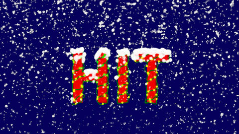 New Year text text HIT. Snow falls. Christmas mood, looped video. Alpha channel Animation