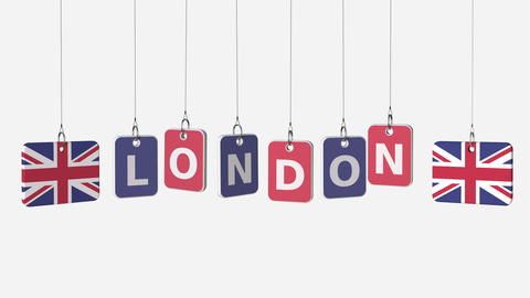 Hanging plates with flags of BRITAIN and London caption. Conceptual animation Footage