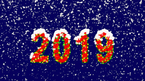 New Year text year 2019. Snow falls. Christmas mood, looped video. Alpha channel Animation