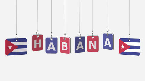 Tags featuring flags of CUBA and Habana text. Alpha matte for easy background Live Action