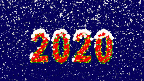 New Year text year 2020. Snow falls. Christmas mood, looped video. Alpha channel Animation