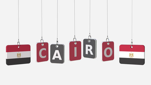 Flags of EGYPT and Cairo text on hanging plates. Alpha matte for simple Footage