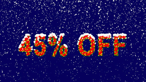 New Year text sale label 45% OFF. Snow falls. Christmas mood, looped video. Animation