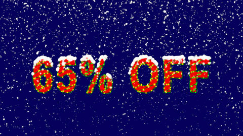 New Year text sale label 65% OFF. Snow falls. Christmas mood, looped video. Animation