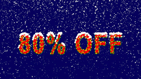 New Year text sale label 80% OFF. Snow falls. Christmas mood, looped video. Animation