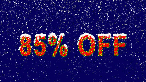 New Year text sale label 85% OFF. Snow falls. Christmas mood, looped video. Animation