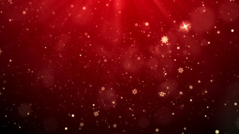 Red Christmas Snowflakes Falling Background, looped Animation