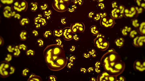 Halloween Background, Looped. Jack-O-Lantern Halloween Pumpkin with scary face Animation