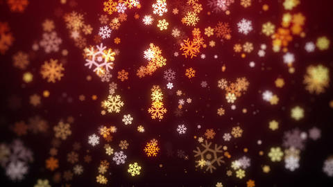 Red Snowflakes Falling Christmas Background, looped Animation