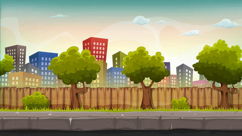 Seamless Street City With Parallax Effect Animation