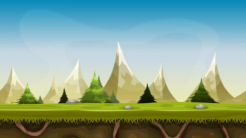 Seamless Mountains Landscape Animation Stock Video Footage