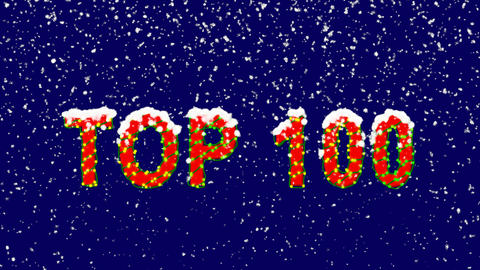 New Year text best TOP 100. Snow falls. Christmas mood, looped video. Alpha Animation