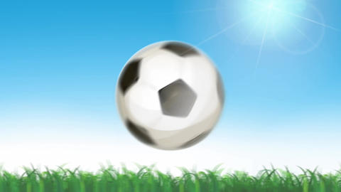 Soccer Ball Flying On Seamless Grass Animation Animation