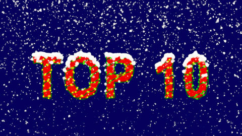 New Year text best TOP 10. Snow falls. Christmas mood, looped video. Alpha Animation