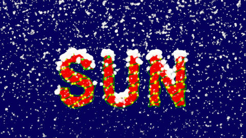 New Year text text SUN. Snow falls. Christmas mood, looped video. Alpha channel Animation