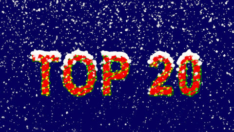 New Year text best TOP 20. Snow falls. Christmas mood, looped video. Alpha Animation