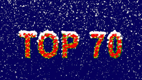 New Year text best TOP 70. Snow falls. Christmas mood, looped video. Alpha Animation