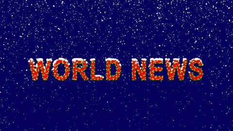 New Year text common expression WORLD NEWS. Snow falls. Christmas mood, looped Animation