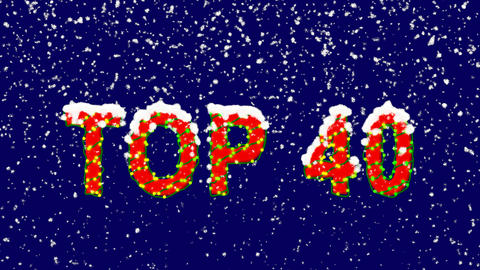 New Year text best TOP 40. Snow falls. Christmas mood, looped video. Alpha Animation