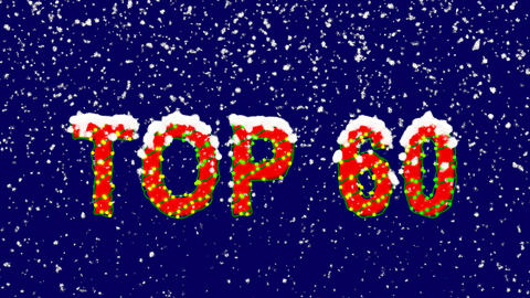 New Year text best TOP 60. Snow falls. Christmas mood, looped video. Alpha Animation