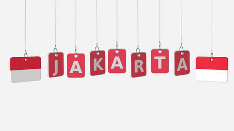 Flags of INDONESIA and Jakarta text on hanging plates. Alpha matte for simple Live Action