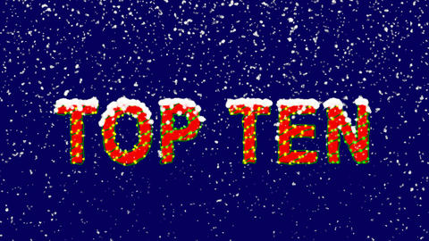 New Year text best TOP TEN. Snow falls. Christmas mood, looped video. Alpha Animation