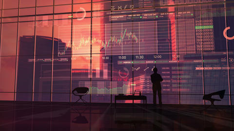 Trading infographics in front of a businessman Animation