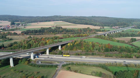 Highway and railroad track - aerial view Footage