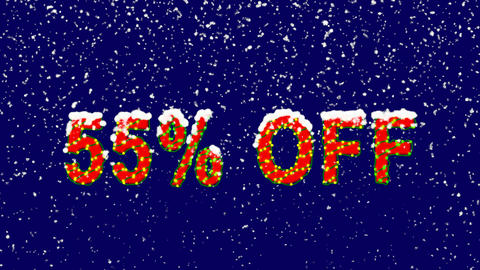 New Year text sale label 55% OFF. Snow falls. Christmas mood, looped video. Animación