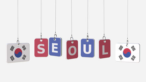 Tags featuring flags of KOREA and Seoul text. Alpha matte for easy background Live Action
