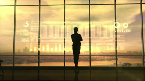 Silhouette of business woman and stock exchange infographics Animation