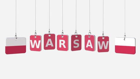 Flags of POLAND and Warsaw text on hanging plates. Alpha matte for simple Footage
