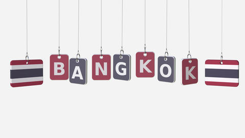 Flags of THAILAND and Bangkok text on hanging plates. Alpha matte for simple Live Action