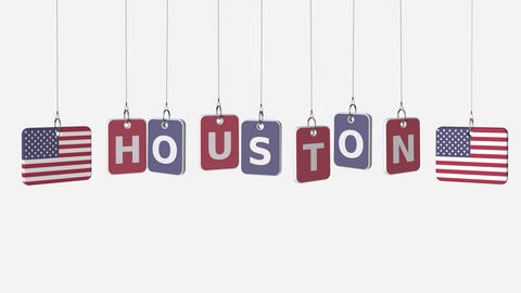 Flags of USA and Houston text on hanging plates. Alpha matte for simple Footage