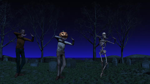 Halloween Cemetery Dance Animation CG動画素材