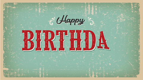 Vintage Happy Birthday Animation Card Animation