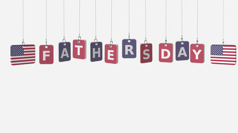 Tags featuring flags of USA and Fathers day text. Alpha matte for easy Live Action