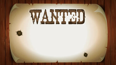 Wanted Sign On Western Movie Background Animation