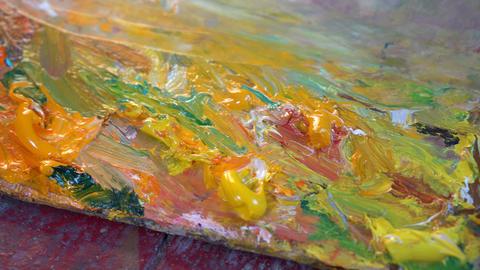 Oil paints on an artist's palette Footage