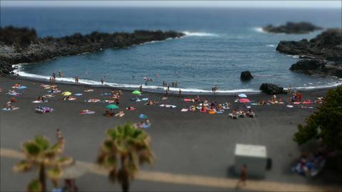 Beaches on the island of La Palma.Tilt-shift effect.Time lapse Footage