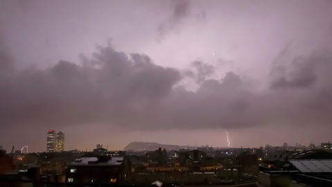 Lightning storm over the city Footage