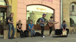 OLOMOUC, CZECH REPUBLIC, APRIL 12, 2018: Street music busking band group playing Footage