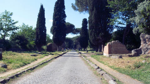 walk on an ancient road built by the ancient Romans, ancient Appia Footage