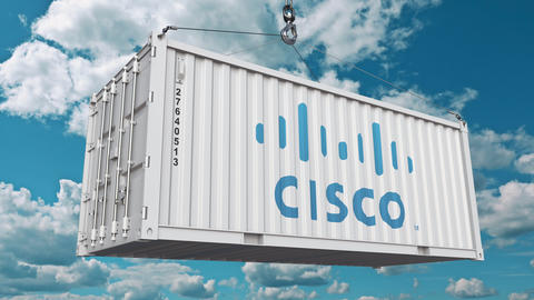 Cisco logo on an industrial container. Editorial animation Footage