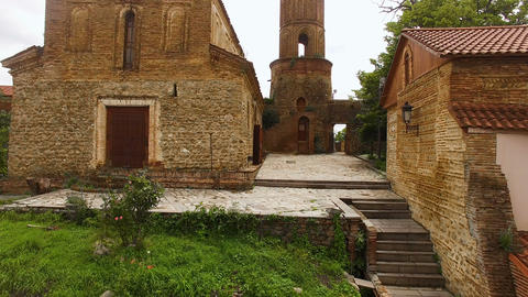 Stunning panoramic view of ancient church of St George in Signagi town, tourism Footage