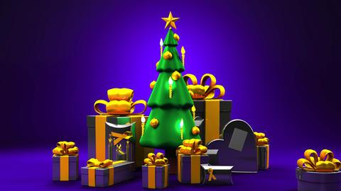 Christmas tree and gift boxes CG動画