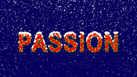 New Year text fruit PASSION. Snow falls. Christmas mood, looped video. Alpha Animation