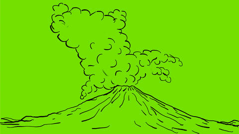 Volcano Erupting Drawing 2D Animation Animation