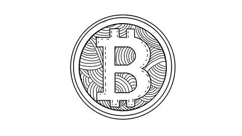 Bitcoin Spinning Drawing 2D Animation Stock Video Footage