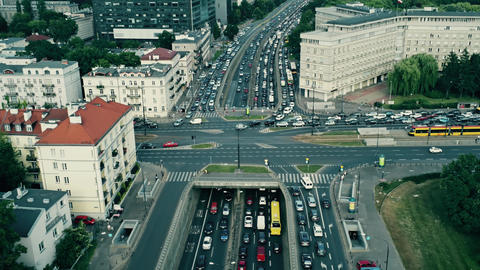 Aerial rising shot of big traffic jam in the city Live Action